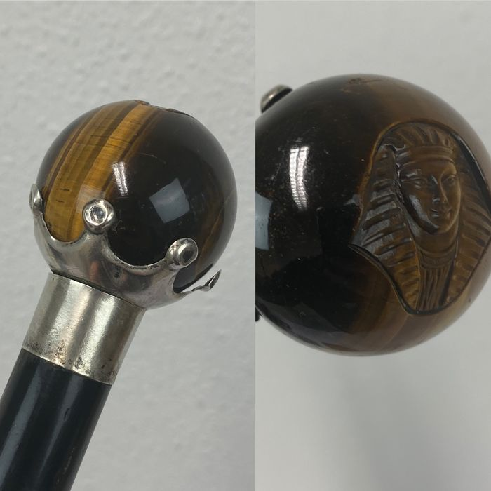 Imposing walking stick with cut tiger eye and silver cuff - Pharaoh head, - Ivory, Silver, Tiger eye - 1885