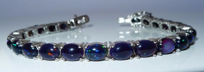 Black Opal cabochons in Sterling silver - Polished - 14.1 g