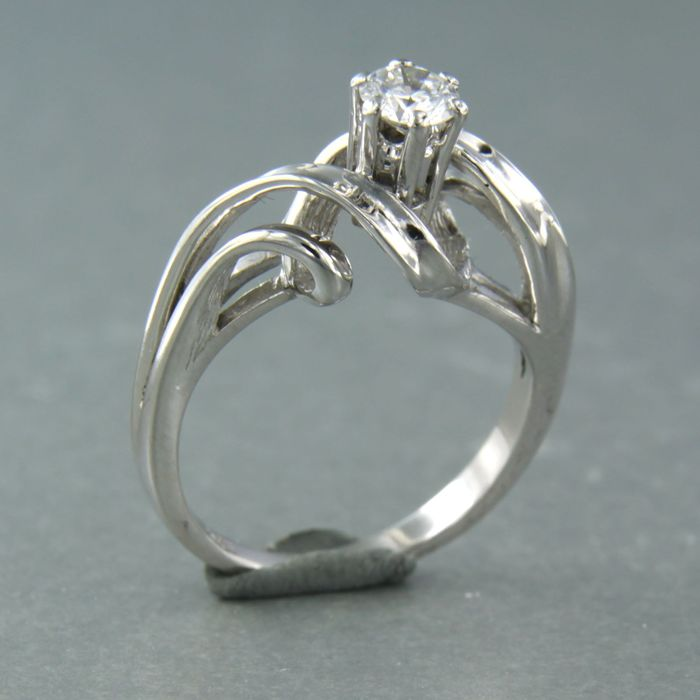 14 kt. White gold - Ring - 0.35 ct Diamond