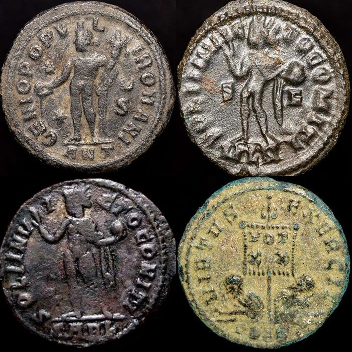 Römisches Reich - Lot comprising 4 AE Folles - Galerius as Caesar - Licinius (2) - Constantine I the Great - Bronze