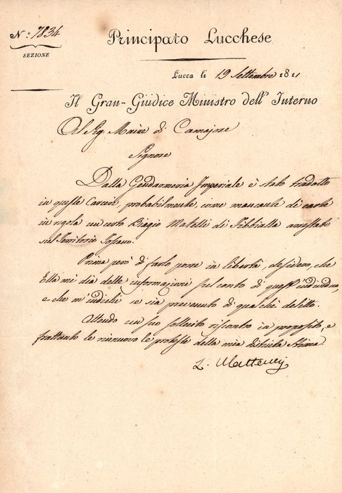 Luigi Matteucci - Autograph; Letter from the Minister of the Interior on a prisoner, from the Principality of Lucca - 1811