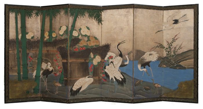Folding screen - gold/silver leaf - 6 panel screen (byobu) with a nicely detailed painting of large cranes, bamboo and a lingering river - Japan - bakumatsu period  150 - 180 years old