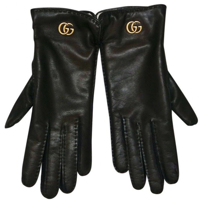 Gucci - Marmont GG size 7,5 black Leather gloves