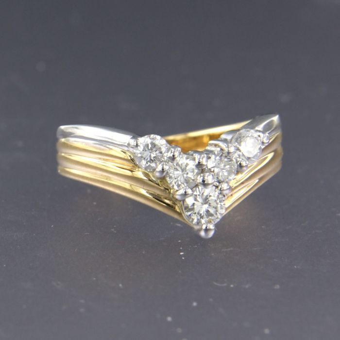 18k goud en 900Pt platina Gold, Platinum - Ring - 0.44 ct Diamond