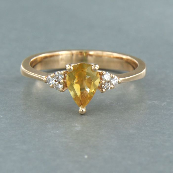 18 kt. Pink gold - Ring - 0.70 ct Citrine - Diamond