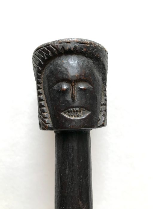 Scepter, Shaman (1) - Wood - four  faces on top! - Nepal - late 19th century beginning 20th century