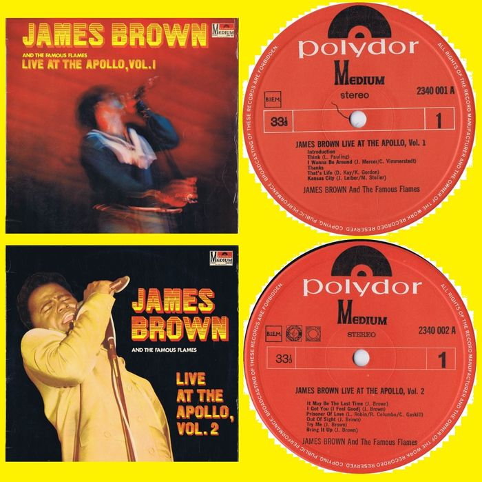 James Brown & The Famous Flames - 1. Live At The Apollo Vol.1 / 2. Live At The Apollo Vol.2 - Multiple titles - LP's - 1968/1968