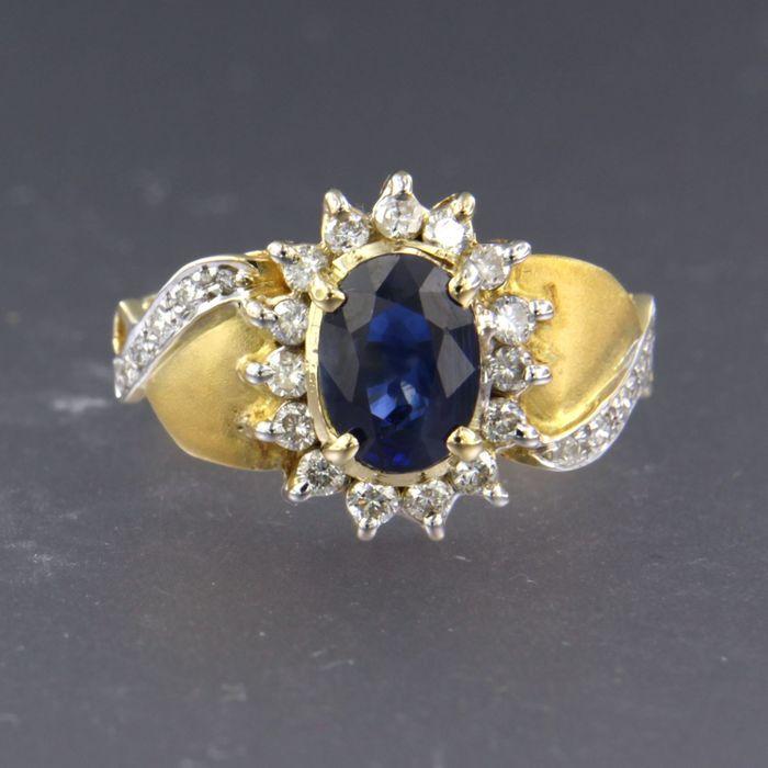 14 kt. White gold, Yellow gold - Ring - 1.10 ct Sapphire - Diamond