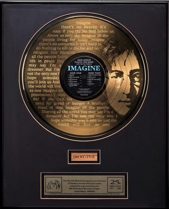 John Lennon - Imagine Record 24Kt Gold Plated Framed With Door Piece - Official award - 1996/1996