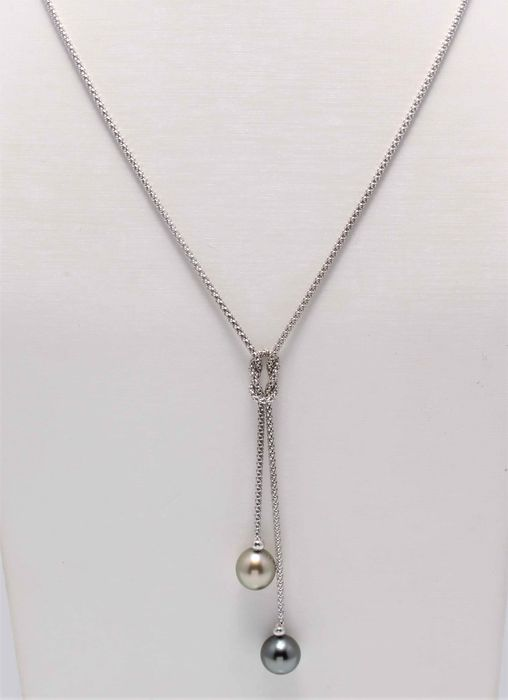 No reserve price - 925 Silver - 8x9mm Tahitian Pearl Drops - Necklace