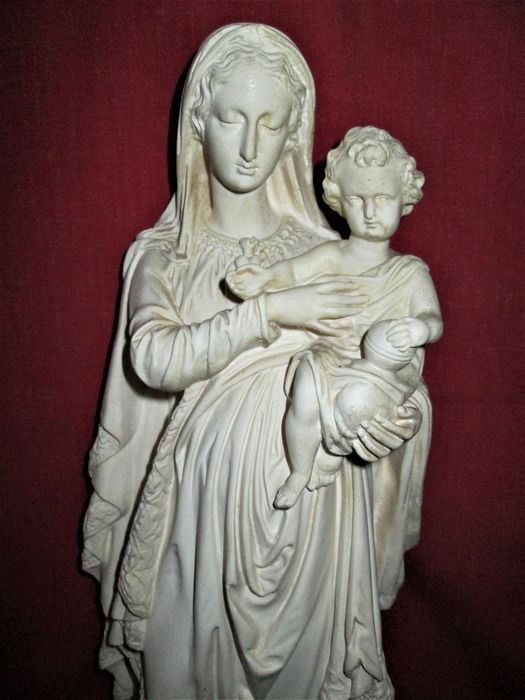 "R .Agostini - F. Marchetti - Holy statue ""Mary with child Jesus"" signed - Clay"