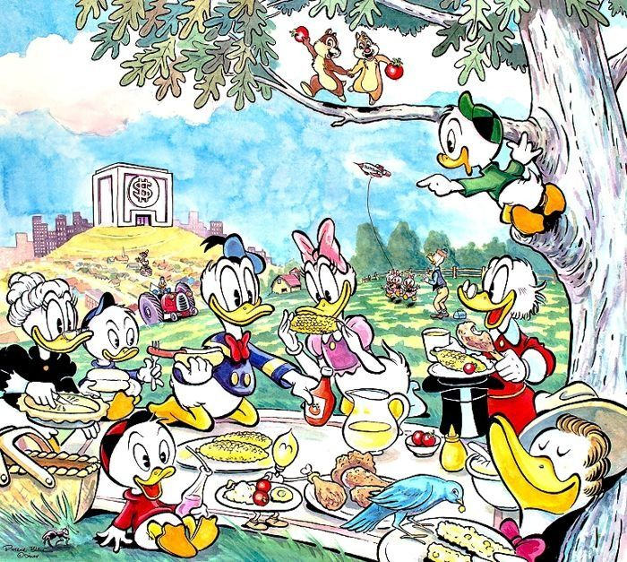 Limited edition, hand-signed and numbered lithograph by Patrick Block - A Duckburg Picnic - Eerste druk - (2012)