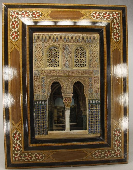 An Alhambra Plaque - Architectural model based on the Alhambra (Granada) on a 'taracea' wooden frame