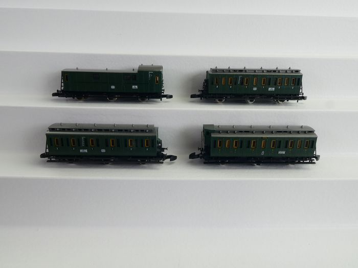 Märklin Z - 8705, 8704 - Passenger carriage - 4x courier cars including baggage car - DB