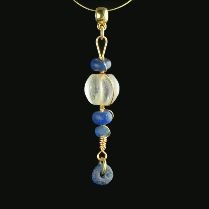 Ancient Crystal Pendant with crystal melon beads - (1)