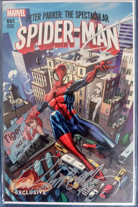 Marvels - Peter Parker : The Spectacular Spider-man #1 cover A Signed by J Scott Campbell 9.8 NM !!! - J. SCOTT CAMPBELL Exclusive