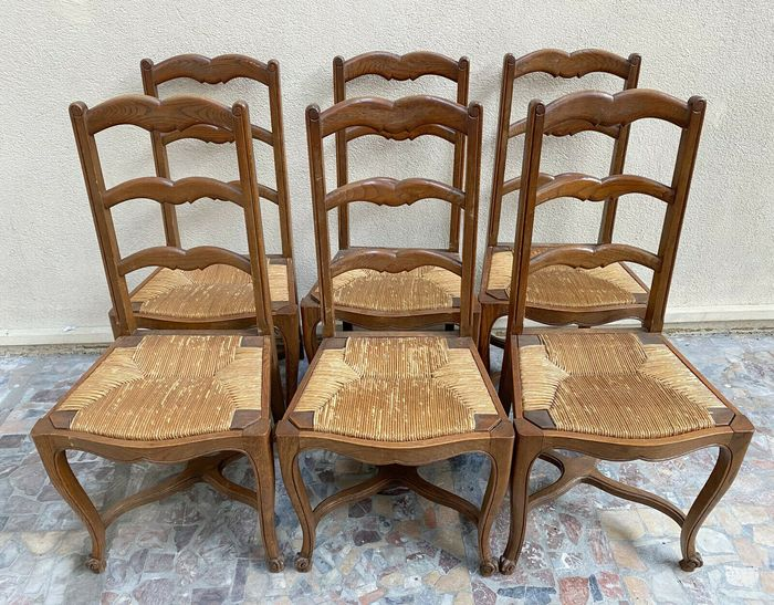 Set of 6 chairs - Louis XV style - Natural wood with straw bottom seats - Early 20th century