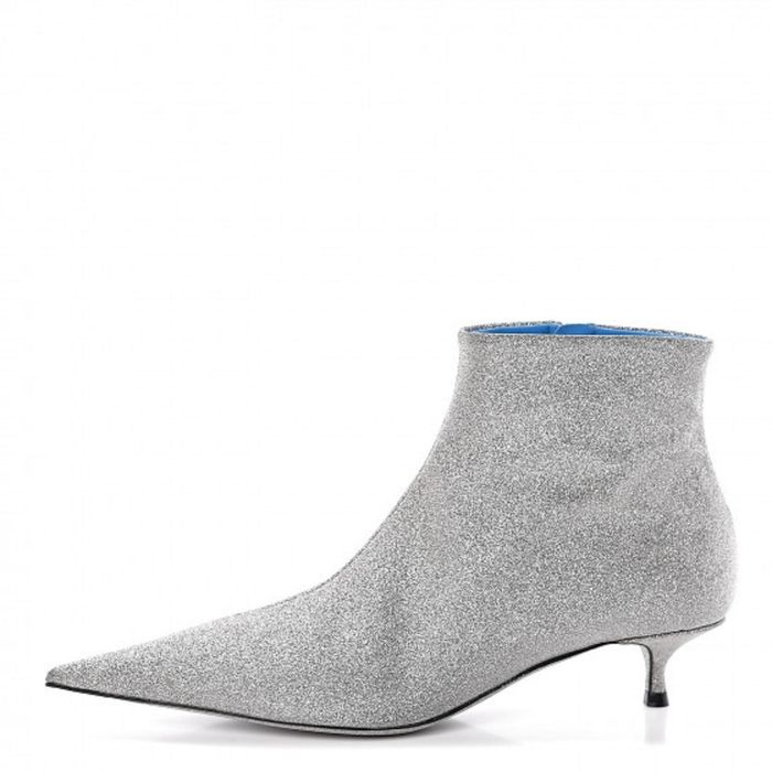 Balenciaga - Calfskin Glitter Short 40mm Extreme Pointed Toe Knife Booties 36 silver Ankle boots - Size: FR 36