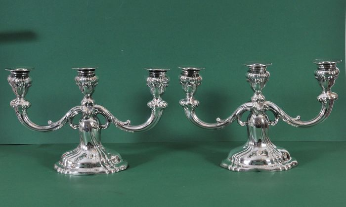 Pair of silver candelabra (2) - .800 silver - Wilhelm Binder - Germany - Early 20th century