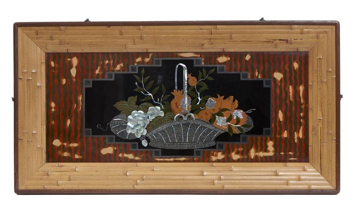 Panel - Bamboo, Lacquered wood, Mother of pearl - Exquisite lacquer-work panel depicting a wickerwork basket with grapes, citrus and pomegranates  - Japan - Meiji period (1868-1912)
