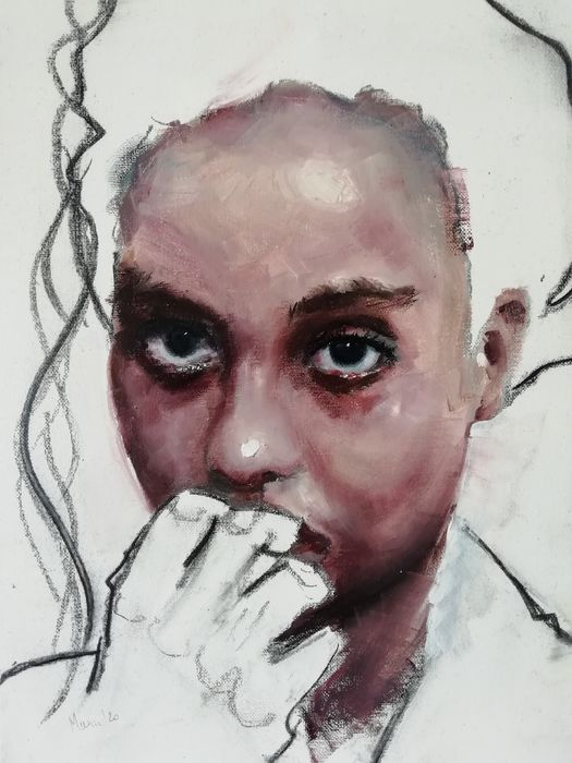 Manu De Mey - Girl with Hand on Mouth