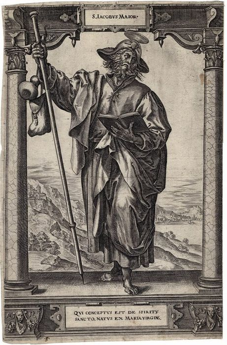Hiëronymus Wierix (1553-1619), Maerten de Vos (1535-1603) - Saint James Major, Compostella. Large engraving, first edition 1578.