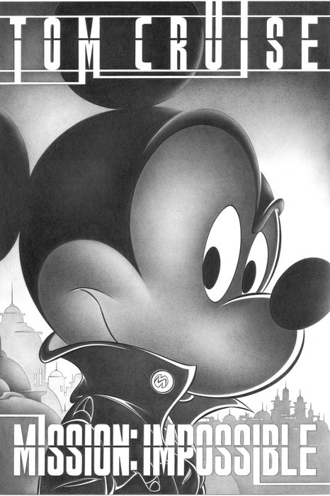 Mickey Mouse in Mission Impossible - Large Signed Giclée By Jaume Esteve - Op canvas