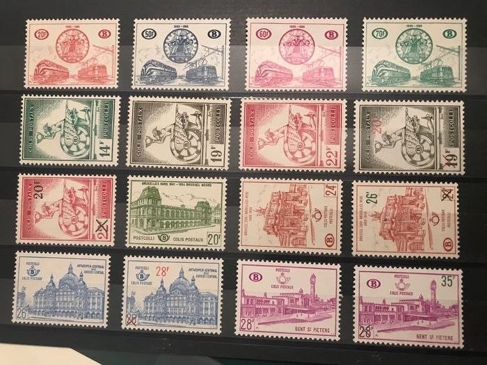 Belgium 1957/1965 - 9 years of railway stamps - OBP / COB TR361/372 en TR374/377