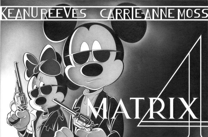 Mickey and Minnie in The Matrix - Large Signed Giclée By Jaume Esteve - Op canvas