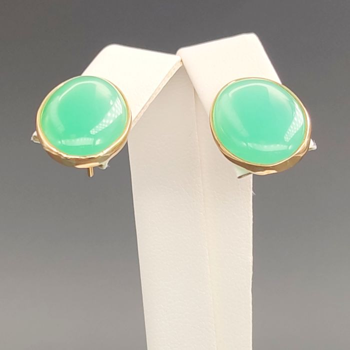 18 kt. Yellow gold - Earrings - 10.00 ct Agate