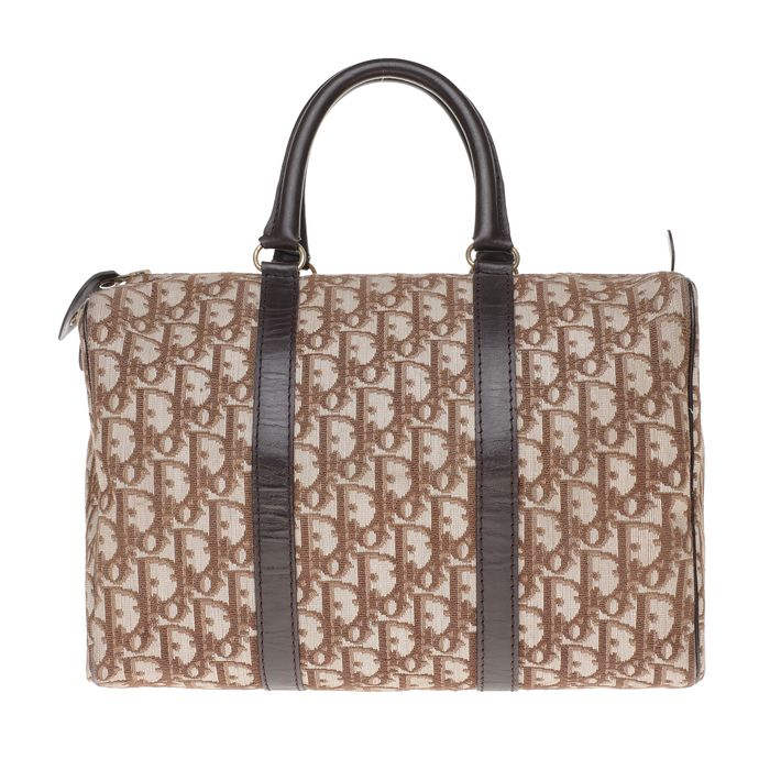 "Christian Dior - Sac à main ""Boston"" bowling 30cm en toile monogram oblique et cuir marron Handtasche"