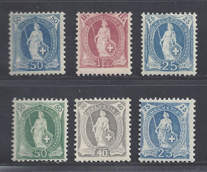 Switzerland 1905/1908 - Various standing Helvetia