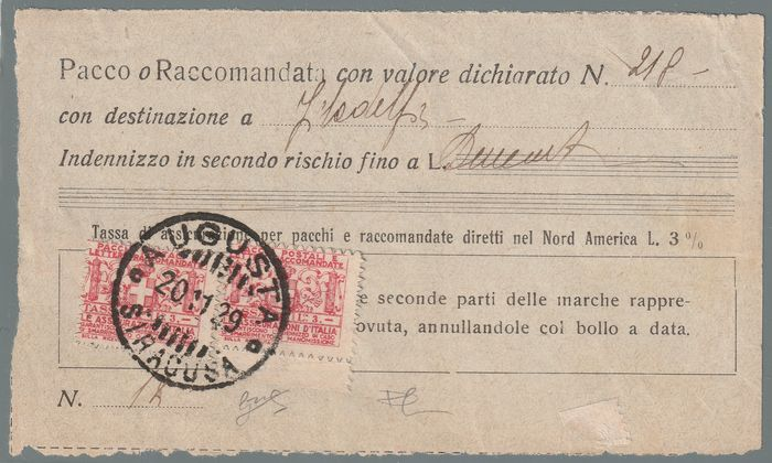 Königreich Italien 1929 - Insurance stamps, insurance receipt with 2 values of 3 l. rare and certified - Sassone N.6