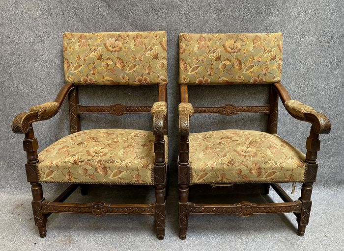 Pair of armchairs - Renaissance style - with decorations of various sculptures - Walnut - Second half 19th century