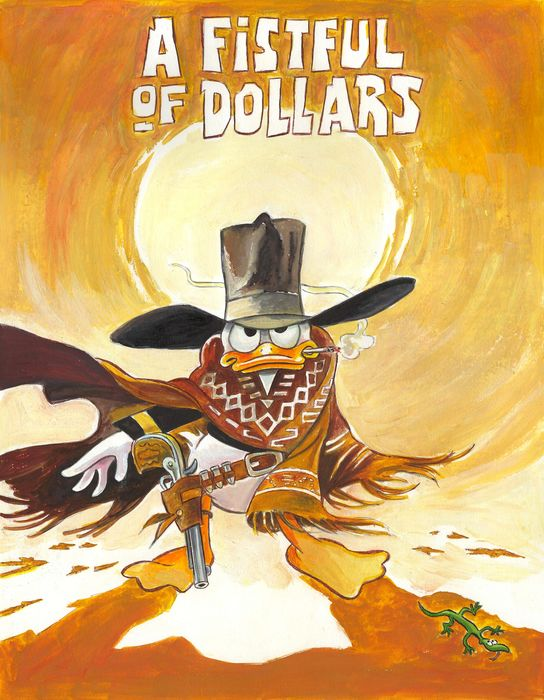 "Donald Duck inspired by ""A Fistful Of Dollars"" - Original Painting - Tony Fernandez Signed - Originele kunst"