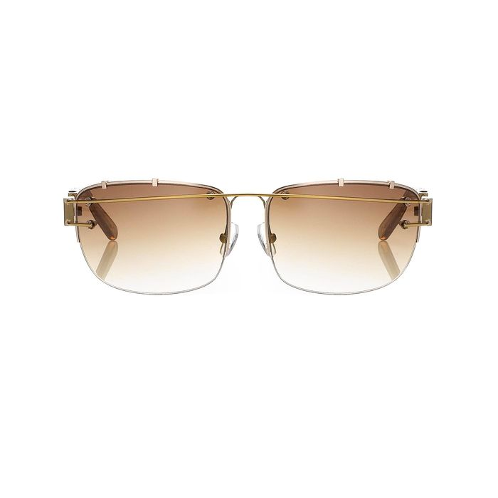 "Yohji Yamamoto - Rectangular Gold and Brown Graduated Lenses - 9YY100C3ANTIQUEGOLD""NO RESERVE PRICE"" Sunglasses"