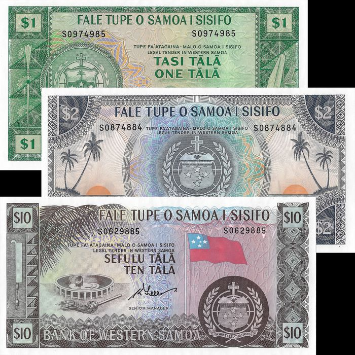 Western Samoa - 1, 2 and 10 Tala  ND (1967) - Pick 16d, 17c, 18d - official reprints 2019