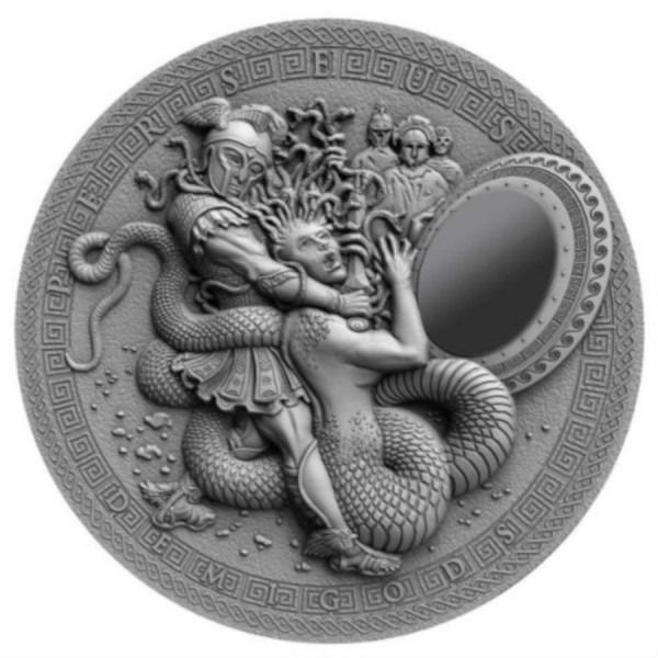 Niue. 2 Dollars 2018 Perseus Antique Finish Silicone Mirror Insert - 2 oz