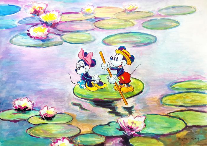 """Mickey & Minnie Inspired By Monet """"Water Lilies, 1916"""" - Original Large Painting - Tony Fernandez Signed - Eredeti Art"""