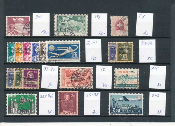 Switzerland 1882/1950 - Selection on a large stock card