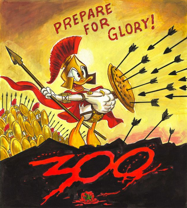 Donald Duck - Prepare For Glory Inspired By 300 - Original Painting - Tony Fernandez Signed - Originele kunst