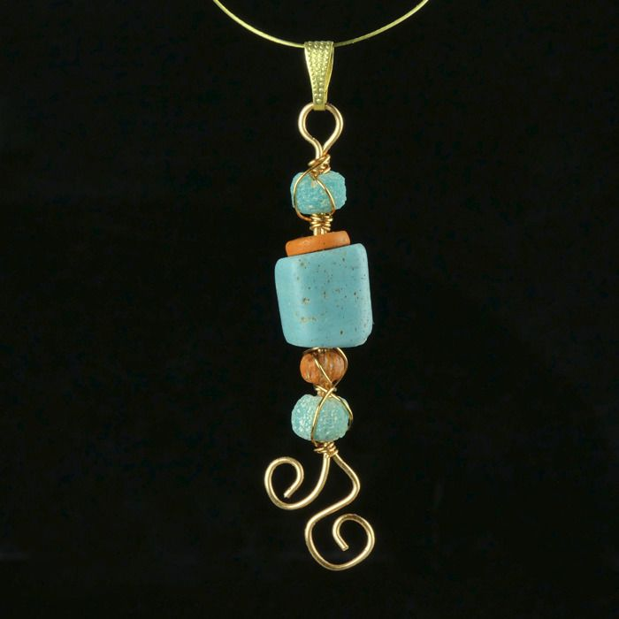 Ancient Roman Glass Pendant with turquoise and orange glass beads - (1)