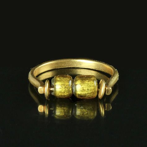 Ancient Roman Glass Ring with double gold foil glass bead - (1)
