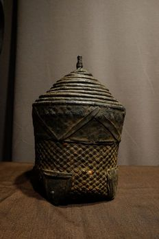 Basket - Leather, Raphia - Toussian - Burkina Faso