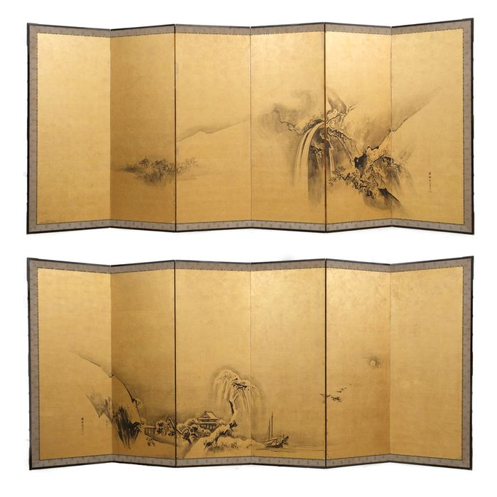 Byobu - goldleaf - Set of 2 six panel late Edo period goldleaf screens with quiet continous painting of a landscape - Japan - Late Edo period