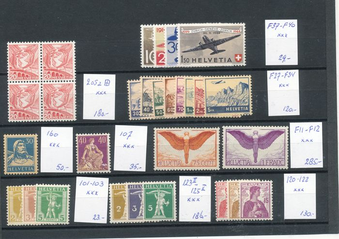 Switzerland 1909/1940 - Selection on a large stock card
