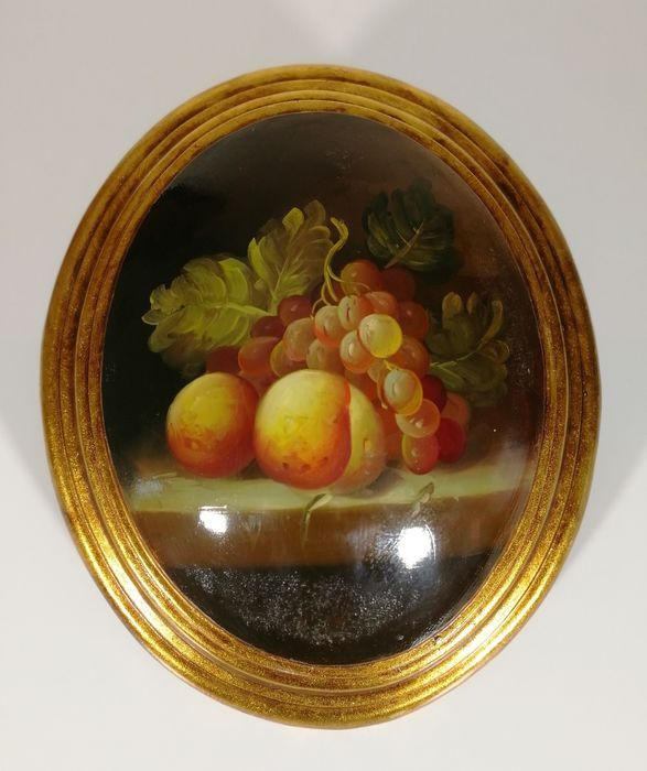 Oil painting on rounded wood oval