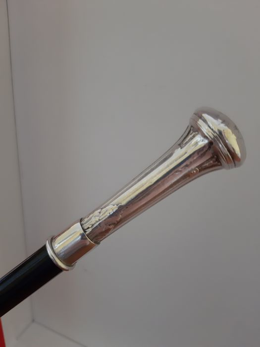 Walking stick, Rod of command (1) - Bronze (silvered), Wood - Late 19th century