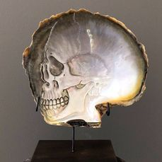 Mother of pearl shell with custom stand - Human skull motif - Pinctada Maxima (1) - Mother of pearl, Schelp