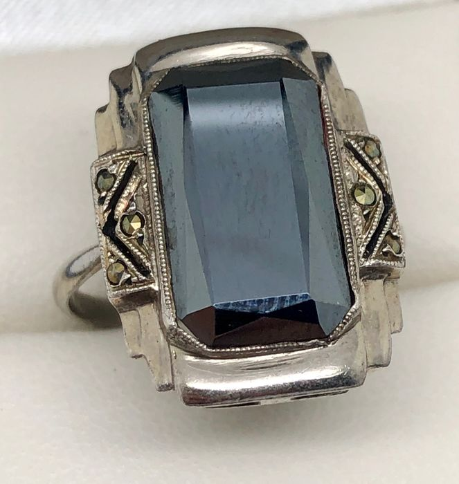 """Silver - Art Deco ring """"without reserve price"""" Hematite - marcasite"""